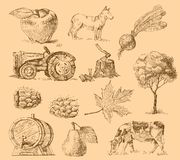 Farm collection-handmade drawing Royalty Free Stock Photos