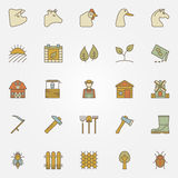 Farm colorful icons collection Stock Photos