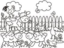 Farm animals coloring book, vector illustration