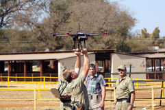 Farm Community Security displaying drone with camera Stock Image