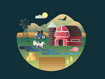 Farm concept flat design Royalty Free Stock Images