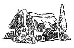 Farm Cottage House Retro Grunge Hand Drawn Style Royalty Free Stock Images