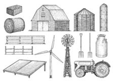 Free Farm, Countryside, Rural Object Collection, Illustration, Drawing, Engraving, Ink, Line Art, Vector Royalty Free Stock Image - 125754056