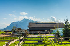 Traditional Farm at the Base of the Alps in Austria royalty free stock photography