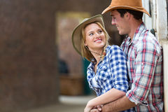 Farm couple embracing Royalty Free Stock Photography
