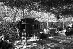 Farm courtyard black and white image Stock Image