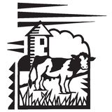 Farm with Cow. Farm Landscape With Silo and Cow Royalty Free Illustration