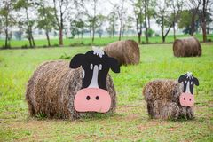 Cow made of hay. Farm cow, Cow made of hay Stock Photography