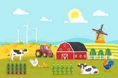 Farm with cows and chicken. Royalty Free Stock Photography