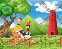 A Farm with cows scene stock photo