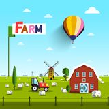 Farm with Cows, Tractor, Windmill and Barn. Rural Vector Landscape with Blue Sky above Green Field Royalty Free Illustration