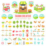 Farm creator. Big set of vector farming elements and animals background. Cartoon illustartion. In flat style vector illustration