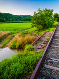 Farm and creek along railroad tracks in Southern York County, PA Stock Images