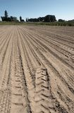 Farm crop field with tracks prepared for planting. Farm crop field prepared for planting with blackberry bushes and farmstead on the horizon stock photos