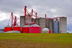 Farm crop storage silos. Royalty Free Stock Photography
