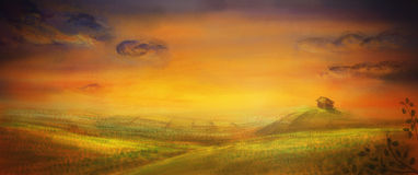 Farm with crops - original painting. Farm with crops - original digital painting.  Country scene with crop fields and farm in sunset Stock Image