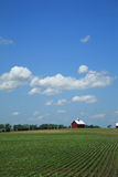 Farm, Crops and Red Barn Stock Photo