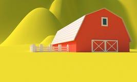 Farm. 3d rendering stock photos