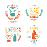 Farm dairy products emblems and icons. Color print on a white background Stock Photography