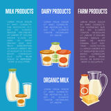 Farm dairy products vertical flyers Royalty Free Stock Images