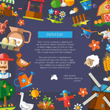 Farm day flyer of modern flat design farm and Stock Image