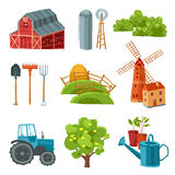 Farm decorative multicolored set. With barn tractor windmill haystack silo tower tree bushes watering can spade rake pitchfork isolated vector illustration Royalty Free Stock Image
