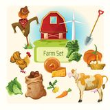 Farm decorative set Stock Images