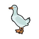 Farm- der Tierehaustiercharakterikone der Ente Dekorativer Hintergrund als stilisiert Strudel der Wellen Lizenzfreie Stockbilder