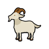 Farm- der Tierehaustiercharakterikone der Ziege Dekorativer Hintergrund als stilisiert Strudel der Wellen Lizenzfreies Stockbild
