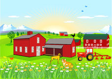 Farm with Dog and Cat Stock Image