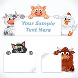 Farm and Domestic Animals with Emty Sign Royalty Free Stock Photos