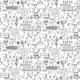 Farm doodle seamless pattern Stock Images