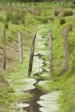 Farm Drainage Ditch. A fence overhanging a rural drainage ditch Stock Photos