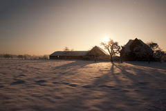 Farm in the Dutch snowy winter Stock Image