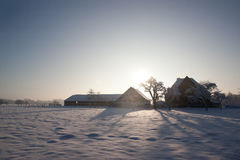Farm in the Dutch winter Royalty Free Stock Photos
