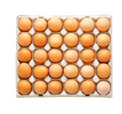 Farm egg in paper container.  on white background. Stock Photo