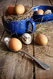 Farm eggs in blue cup and spoon Royalty Free Stock Photos