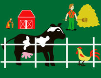 Farm Elements. Farmer,wife,cow,rooster and fence Stock Photography