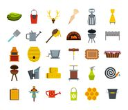 Farm elements icon set, flat style. Farm elements icon set. Flat set of farm elements vector icons for web design isolated on white background Royalty Free Stock Photos