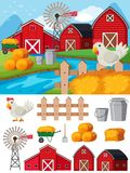 Farm elements and scene at daytime. Illustration Stock Photo