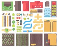 Farm elements - set of modern vector isolated objects. On white background for creating your own images. Top view position of roofs, rivers, roads, greenhouses Royalty Free Stock Image