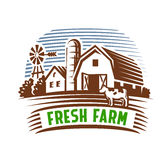 Farm emblem and landscape Royalty Free Stock Image
