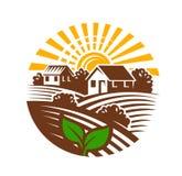 Farm emblem and landscape Stock Photo