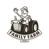Farm emblem with a tractor driver Royalty Free Stock Photos