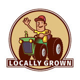 Farm emblem with a tractor driver Stock Images