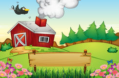 A farm with an empty signboard Royalty Free Stock Image