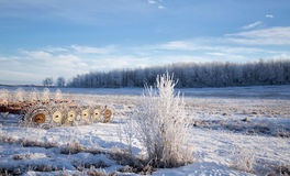 Farm equipment snow covered landscape Stock Image