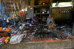 Farm equipment. Traders selling farm equipment at a market in Klaten, Central Java, Indonesia Royalty Free Stock Photos