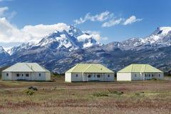 The Farm of Estancia Cristina in Los Glaciares National Park. Patagonia, Argentina. The estancia cristina on the Lake Argentino, near the upsala glacier, in los Stock Image