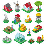 Farm Facilities Workers isometric icons set Royalty Free Stock Photos